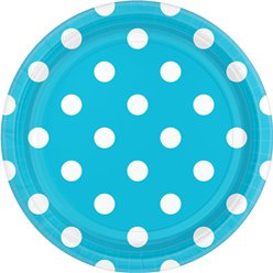 Turquoise Polka Dot Dessert Plates - 18cm Paper Party Plates