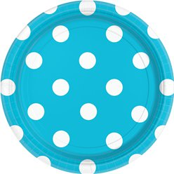 Turquoise Polka Dot Plates - 23cm Paper
