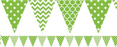 Lime Green Polka Dot & Chevron Plastic Bunting - 3.65m