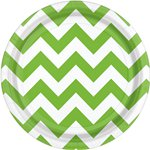 Lime Green Chevron Dessert Plates - 18cm Paper Party Plates