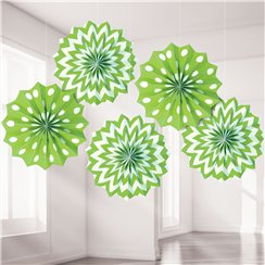 Lime Green Polka Dot & Chevron Paper Fan Decorations - 20cm