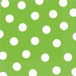 Lime Green Polka Dot Napkins - 33cm
