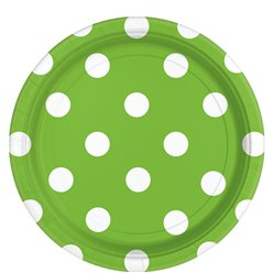 Lime Green Polka Dot Plates - 23cm Paper Party Plates