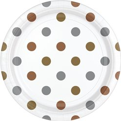 Metallic Polka Dot Dessert Plates - 18cm Paper Party Plates
