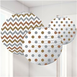 Metallic Polka Dot & Chevron Paper Lantern Decorations - 24cm