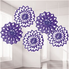Purple Polka Dot & Chevron Paper Fan Decorations - 20cm