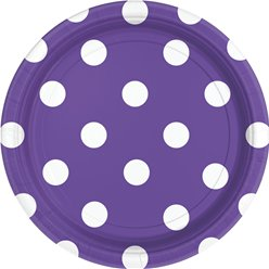 Purple Polka Dot Plates - 23cm Paper Party Plates