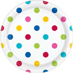 Rainbow Polka Dot Dessert Plates - 18cm Paper Party Plates