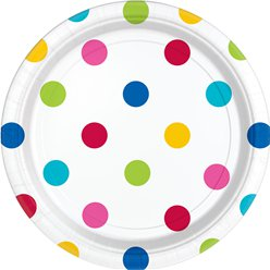 Rainbow Polka Dot Plates - 23cm Paper Party Plates