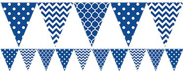 Royal Blue Polka Dot & Chevron Plastic Bunting - 3.65m