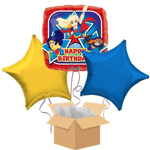 DC Girls Happy Birthday Balloon Bouquet - Delivered Inflated