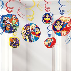 DC Super Hero Girls Hanging Swirl Decorations