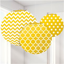 Yellow Polka Dot & Chevron Paper Lantern Decorations