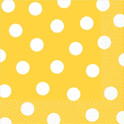 Yellow Polka Dot Napkins - 33cm