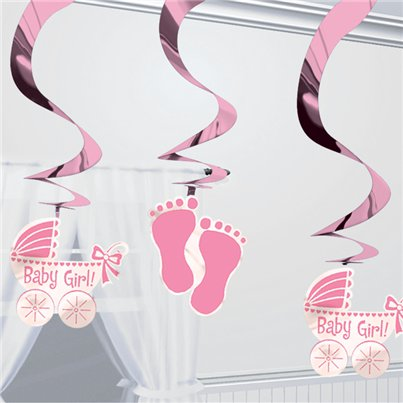 Baby Girl Hanging Swirl Decoration