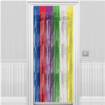 Multi Coloured Metallic Fringed Door Curtain - 2.4m