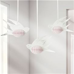 White Honeycomb Bird Decorations - 15cm
