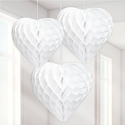White Honeycomb Heart Decorations