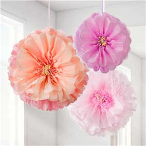 Blush Flower Pom Pom Decorations - 41cm