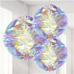 Iridescent Honeycomb Hanging Decorations - 25cm