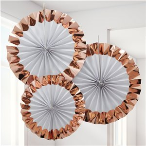 White & Rose Gold Paper Fan Decorations -  38cm