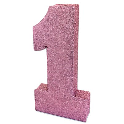 Age 1 Pink Glitter Table Decoration - 20cm