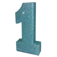 Age 1 Baby Blue Glitter Table Decoration - 20cm