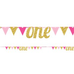 Age One Pink & Gold Glitter Bunting - 2.7m