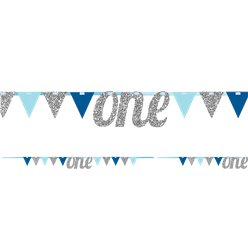 Age One Blue & Silver Glitter Bunting - 2.7m