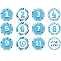 Blue & Silver Glitter Monthly Milestone Stickers