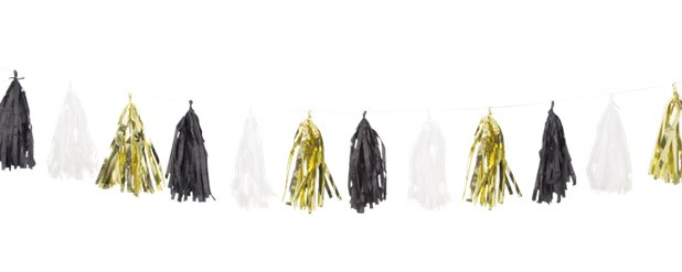 Black, Gold & White Tassel Garland Decoration - 2.7m