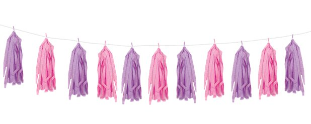 Pink & Purple Tassel Garland Decoration - 2.7m