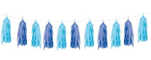 Blue Mix Tassel Garland Decoration - 2.7m