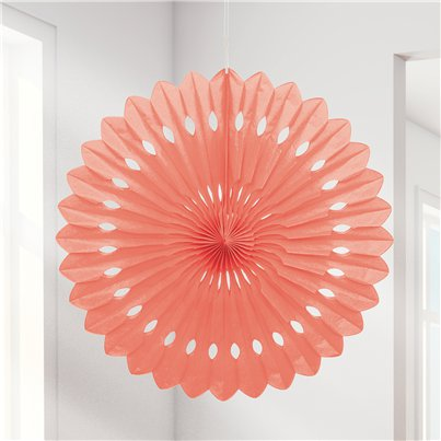Coral Paper Fan Decoration - 41cm