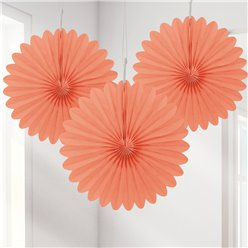 Coral Mini Paper Fan Decorations - 15cm