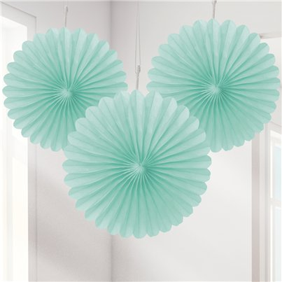Mint Green Mini Paper Fan Decorations - 15cm
