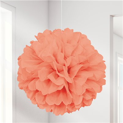 Coral Pom Pom Decoration - 41cm