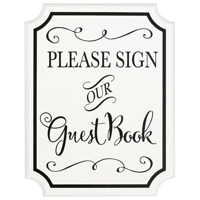 Guest Book Wooden Sign With Easel