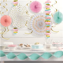 Pastel Paper Decorating Kit - Paper and Foil Hanging Decorations
