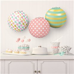 Pastel & Metallic Paper Lantern Decorations - 24cm