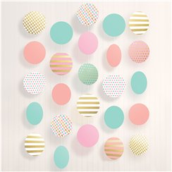 Pastel & Metallic Large Circle Hanging String Decoration