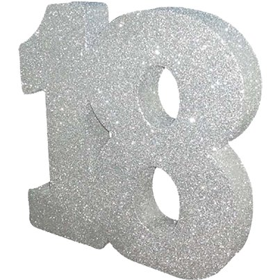 Age 18 Silver Glitter Table Decoration - 20cm