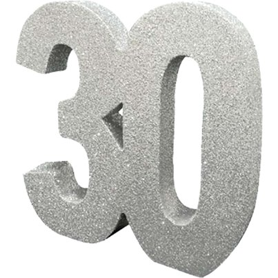 Age 30 Silver Glitter Table Decoration - 20cm
