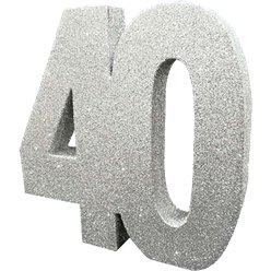 Age 40 Silver Glitter Table Decoration - 20cm