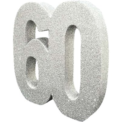 Age 60 Silver Glitter Table Decoration - 20cm