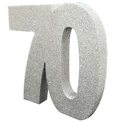 Age 70 Silver Glitter Table Decoration - 20cm