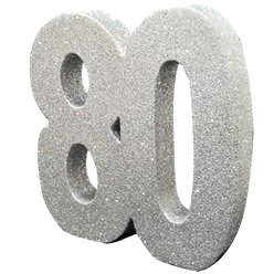 Age 80 Silver Glitter Table Decoration - 20cm