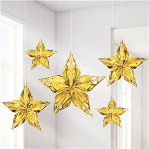 Metallic Gold Hanging Stars