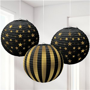 Black and Gold Hanging Paper Lanterns