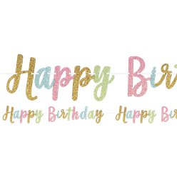 Confetti Fun 'Happy Birthday' Glitter Letter Banner - 3.65m